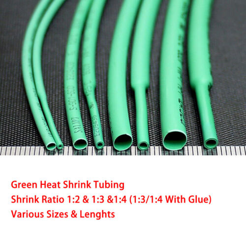 Green Heat Shrink 1mm-50mm Tubing 2:1 3:1 4:1 For Car Cable Wire Electrical DIY