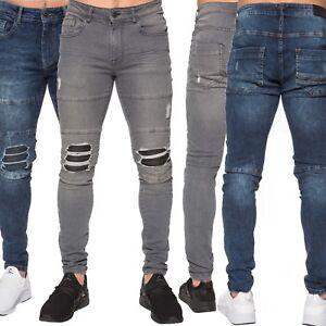 d6ba0d14 Enzo Mens Super Stretch Skinny Slim Fit Jeans Fashion Rip Distress ...