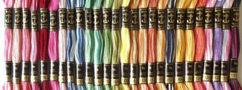 26 Anchor Cotton Embroidery Floss Skeins Thread 19 Variegated & 7 Multi Color