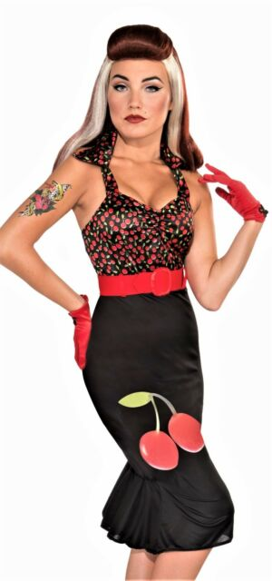 Scarlet Rose Retro Rock 40/'s Pin Up Pinup Fancy Dress Halloween Adult Costume