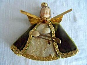Vintage-Christmas-Ornament-ENESCO-ANGEL-w-CERAMIC-HEAD-FOIL-WINGS-BROCADE