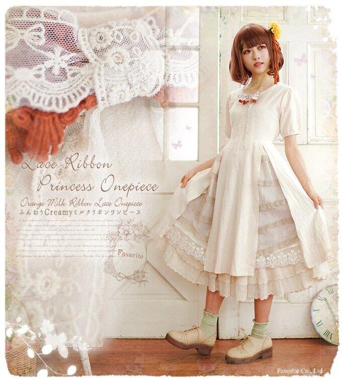 Falbala Japanese Elegant Mori Girl Fairy Loose Sweet VINTAGE Lolita Dress  G52