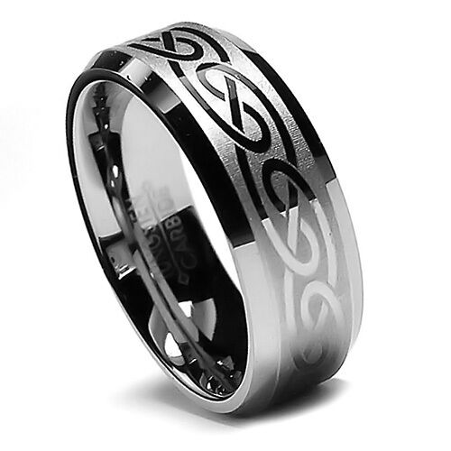 8MM Men's Tungsten Ring Wedding Band, Laser Etched Celtic Design, Beveled Edge!