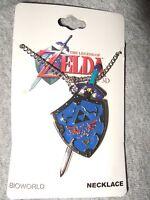 The Legend Of Zelda Master Sword & Hylian Shield Pendant Necklace Silver Tone