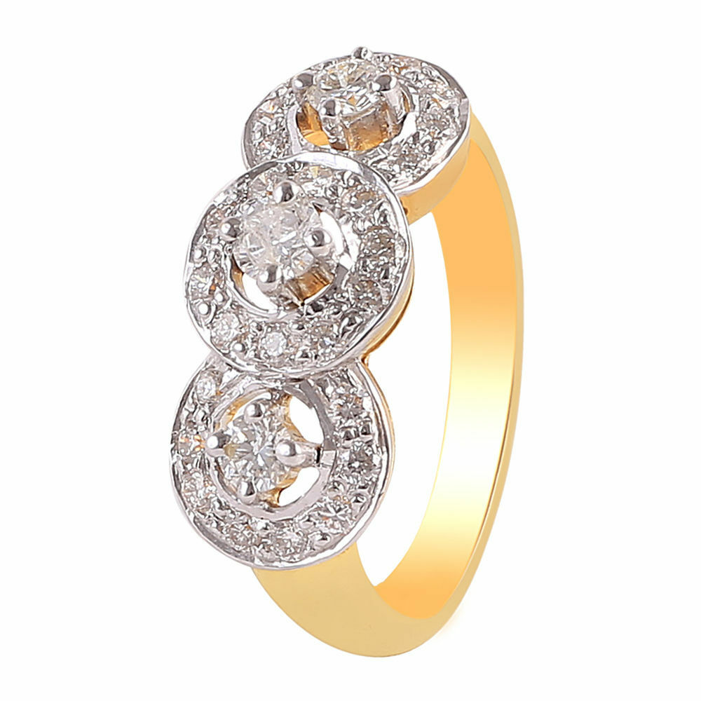 Pave 1.04 Cts Round Brilliant Cut Natural Diamonds Anniversary Ring In 14K gold