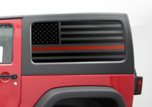 Red Line 2 Door Jeep Flag Decal USA American Wrangler Fire fighter JK HK1-R