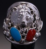 Size 10 - Silver Bear Mens Ring - Turquoise Coral Navajo Rg1t-10