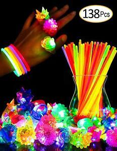 Glow-Sticks-Bulk-Light-Up-Pump-Rings-Party-Favor-Glow-in-The-Dark-Toys-138-pcs