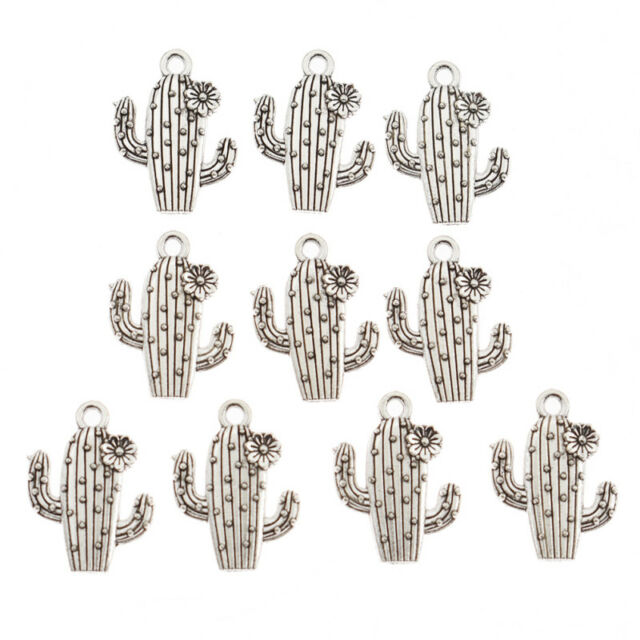 10pcs Charms Silver Cactus Plant Charm Pendant DIY Alloy Jewelry Making Supplies