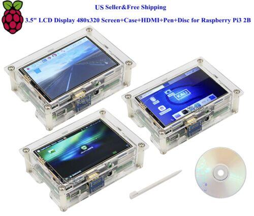 "US 3.5/"" HDMI LCD Display 480x320 Screen+Case+HDMI+Pen+Disc for Raspberry Pi3 2B"