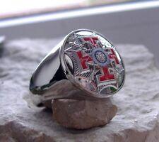 Masonic Knight Templar Mason Ring Steel Cross Sizes 10-12