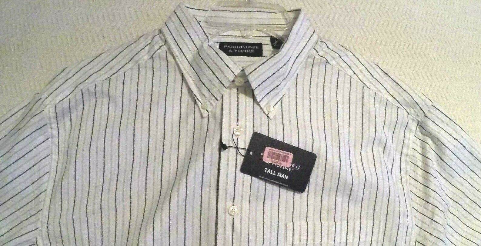 Roundtree /& Yorke White with Blue Striped Color Shirt Sizes 2XT or 4XT TALL MAN