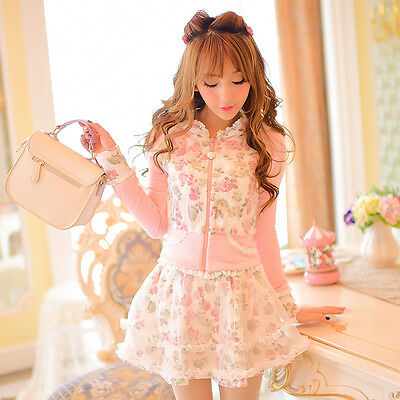 Japan Cute Lolita Kawaii Sweet Princess Rose Slim Jacket Coat Lace Skirt Dress