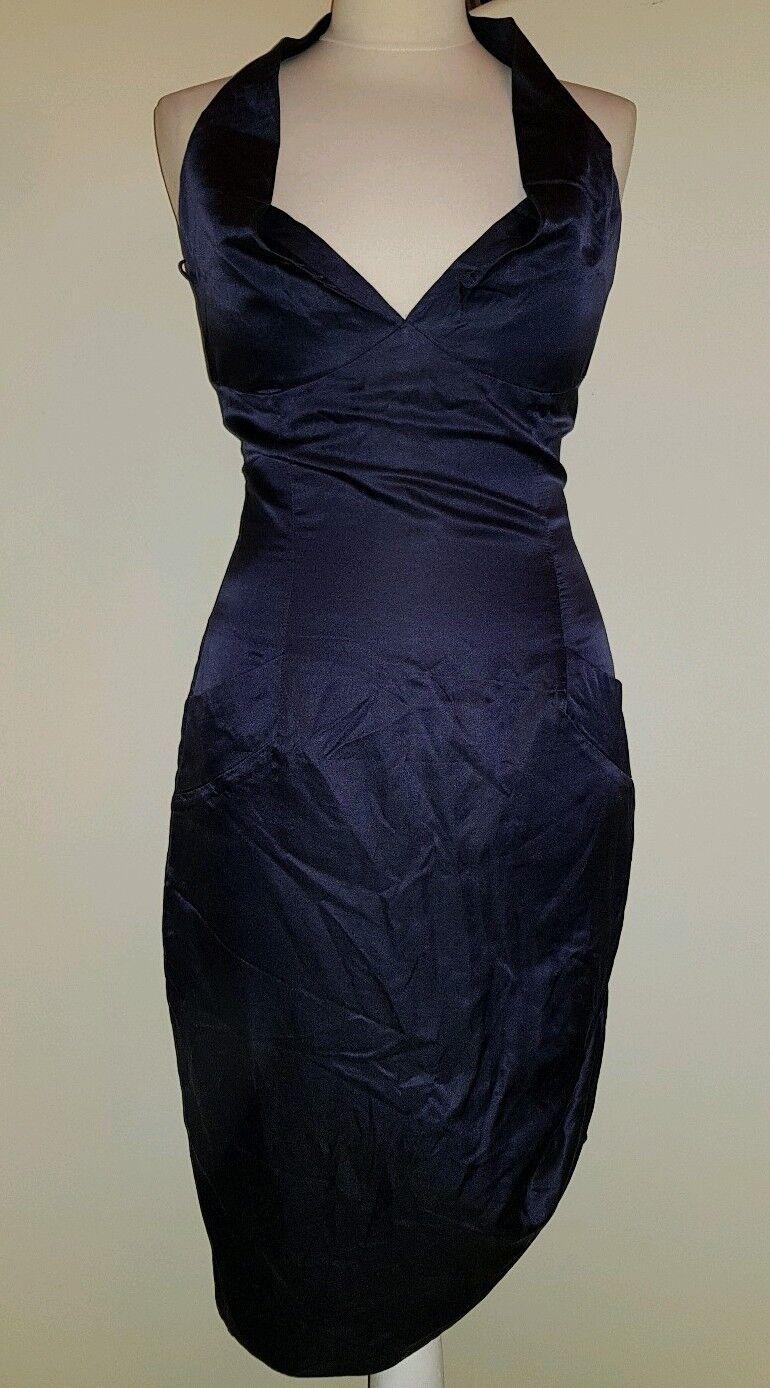 Vivienne Westwood rojo  Label estilo corsé de seda azul marino anudado vestido 42  ahorra hasta un 70%
