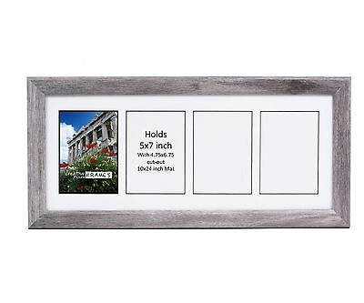 Creativepf 4 Opening Multi 5x7 Driftwood Picture Frame 10x24 White Collage Mat Ebay