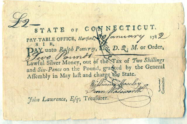 State of Connecticut Revolutionary War Military Soldier Pay Document Huntington