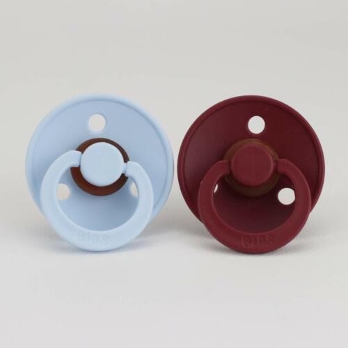 Size 1 or 2 BIBS Pacifier Dummy2 PackBaby Blue Wine