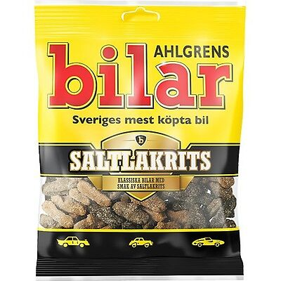 Ahlgrens Bilar ( Cars ) Salt Licorice Candy Bag 130 g ( 4.6 oz ) Made in Sweden*