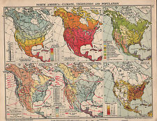 1935 MAP ~ NORTH AMERICA CLIMATE ISOTHERMS NATURAL VEGETATION ISOBARS POPULATION