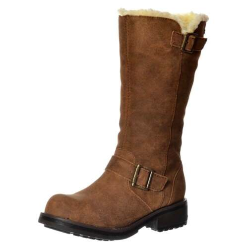 WOMENS ROCKET DOG KNOCKOUT MID CALF BIKER BOOT LEATHER OILED SUEDE BLACK TAN NEW