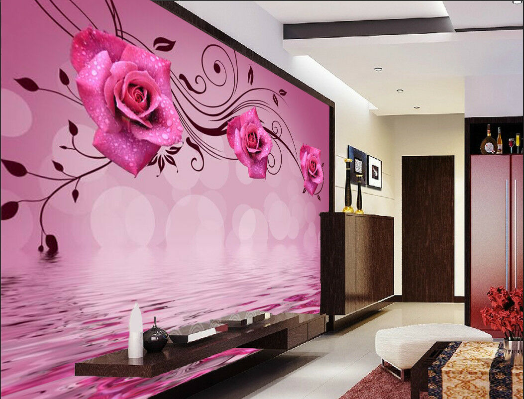 3D ROT Flower Water 74 Wallpaper Mural Wall Print Wall Wallpaper Murals US Carly