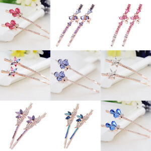 Women-039-s-Crystal-Barrette-Bobby-Pin-Hair-Clips-Slide-Hairpin-Grips-Accessories
