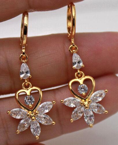 18K Gold Filled Hollow Heart Flower Cat Eyes Topaz Party Women Gems Earrings