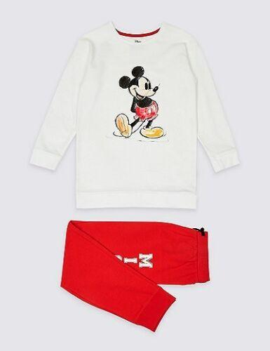 Neuf Enfants Filles m/&s Mickey Mouse Pyjamas Lounge Wear Nightwear 3 jusqu/'à 14 ans