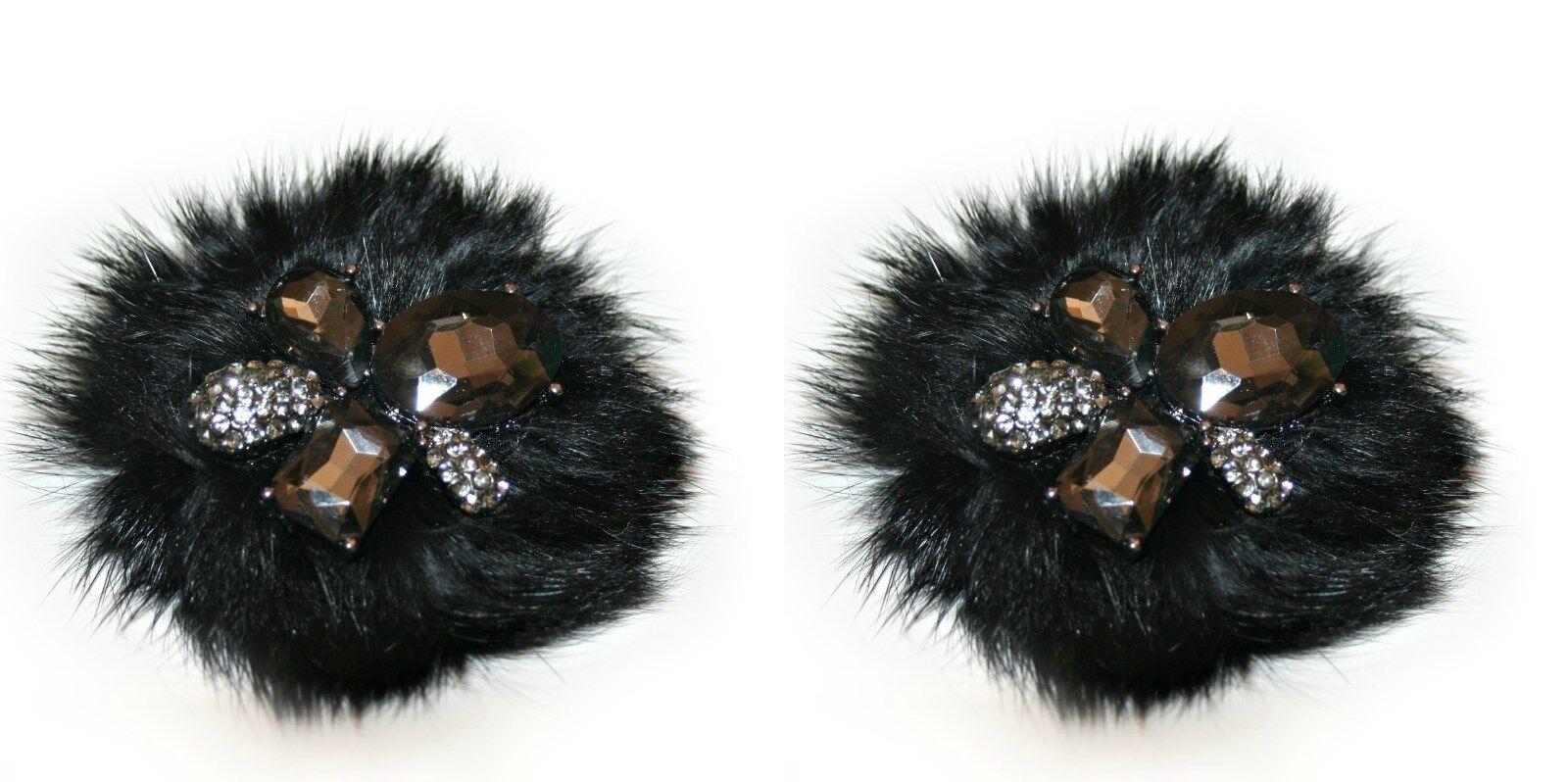 Rabbit Fur Shoe Clips, Black Clip for Shoes (2 piece), Shoe Accessories