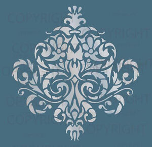 LARGE-WALL-DAMASK-STENCIL-PATTERN-FAUX-MURAL-DECOR-1010-Choose-Custom-Size