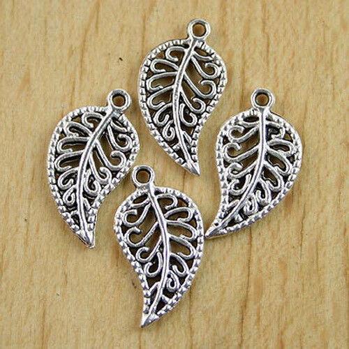 50pcs Tibetan silver pave leaf charms 1 H0157