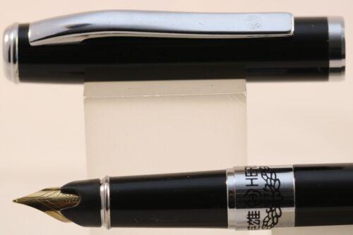 2E Lacquered Black Fine Fountain Pen Black with Chrome Trim HERO No