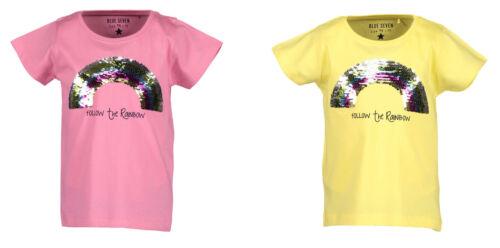 Blue Seven Mädchen Wendepailetten T-Shirt Gr.92-128 kurzarm Regenbogen gelb neu!