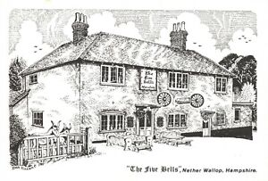 Art-Sketch-Postcard-The-Five-Bells-Nether-Wallop-Hampshire-by-Don-Vincent-AS1