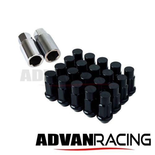 55 grams M12x1.50 Aluminum Lug Nuts Set /& Lock Mitsubishi Black Closed End