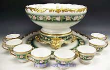 "LOVELY LIMOGES HAND PAINTED ROSES PUNCH BOWL BASE PUNCH CUPS & 18.25"" TRAY SET"