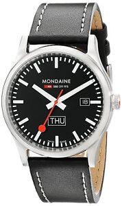 Mondaine Men's A667.30308.19SBB Retro 41mm Day Date Black Dial Black Leather 7611382542250