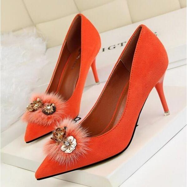 zapatos de salón zapatos de mujer elegantes naranja talón 7.5 cm tacón de aguja