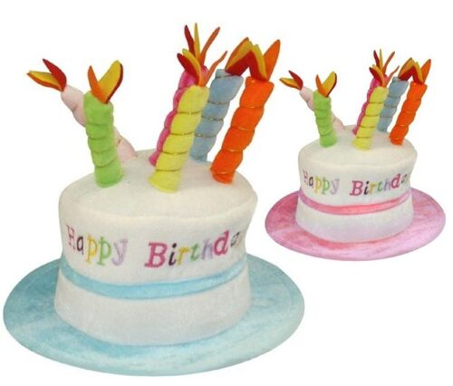 Adult Happy Birthday Hat Cake Hat with Mock Candles Gift Hat 2 Colours New