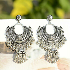 Traditional-Retro-Oxidized-Silver-Jhumka-Earrings-Indian-Bollywood-Jewelry-Gifts