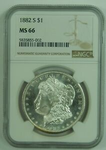 1882-S-1882-S-Morgan-Silver-Dollar-NGC-MS66-High-Grade-US-Antique-Coin-002