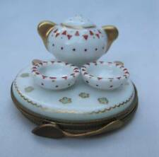 AUTHENTIC LIMOGES FRANCE PEINT MAIN SOUP POT CUPS BOWLS PORCELAIN TRINKET BOX