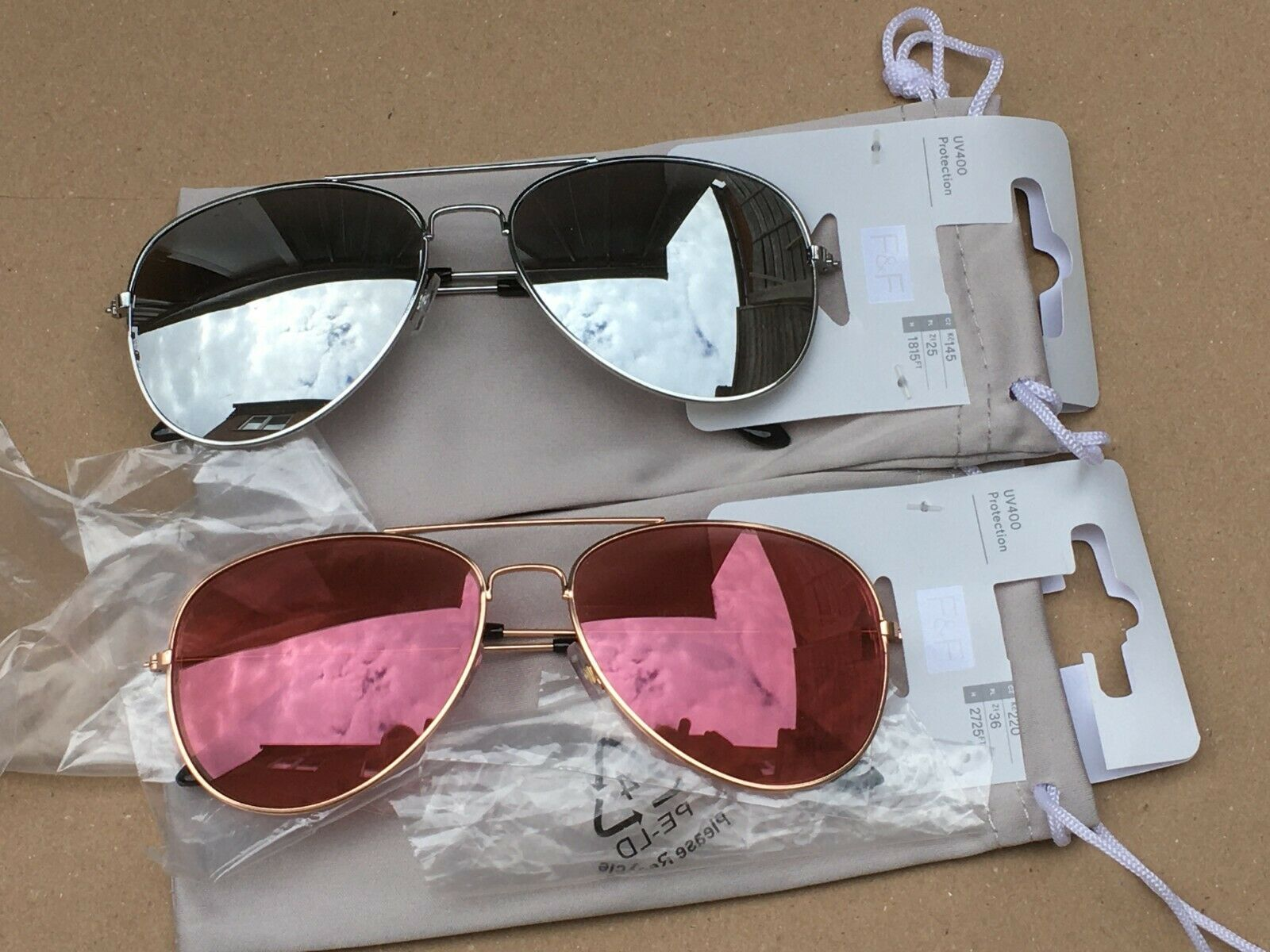 2 X F&F UNISEX Rose Gold Sunglasses UV400 Protection With Microfibre Cloth Pouch