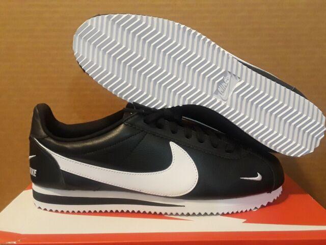 Nike Classic Cortez Premium Leather Shoes Mens 10.5 Black White 807480 004