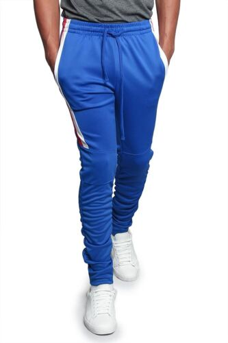 Men/'s Scrunched Bungee Striped  Workout Drawstring Techno Track Pants TR546-E10A