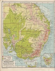 Map Eastern Australia.Details About 1931 Map South Eastern Australia Inset Tasmania Queensland New South Wales