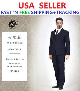 1 6 Standard NAVY Business Suit for 12  NARROW SHOULDER MALE body WORLDBOX COO