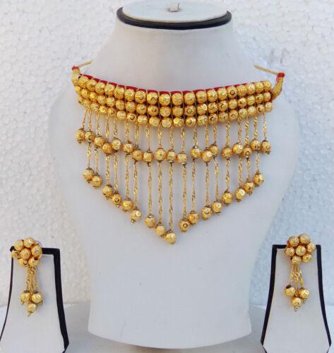 South Indian Jewelry Collier Boucles d/'oreilles épaisse Or Ethnique Plaqué Or Tour de Cou Set P13