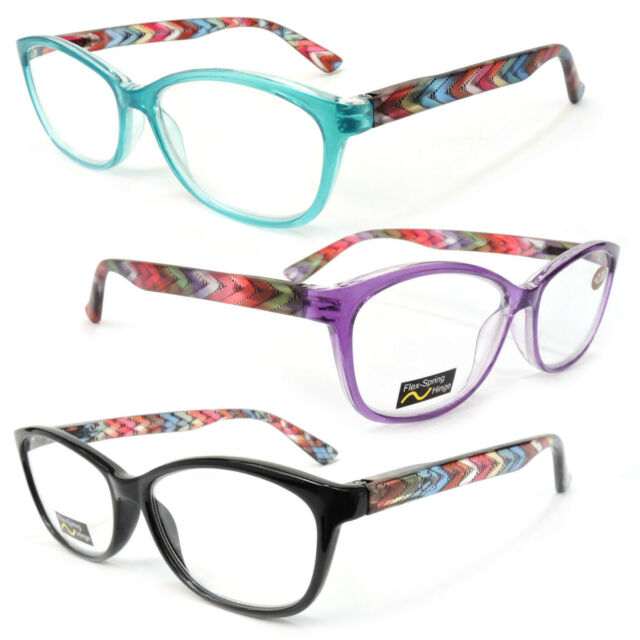 New Classic Frame Reading Glasses Colorful Arms Retro Vintage Style 100-300
