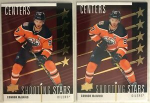 2 Card Lot 2019-20 Connor McDavid Upper Deck Shooting Stars Centers Red #SSC-1